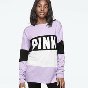 VS Pink Color Block Campus Long Sleeve in Lilac